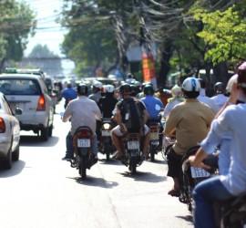drivers and pedestrian in saigon vietnam